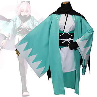 Inspirado por Destino / Grand Order Okita Souji Animé Disfraces de cosplay Trajes Cosplay Geométrico Manga Larga Chaqueta de Kimono Para Mujer