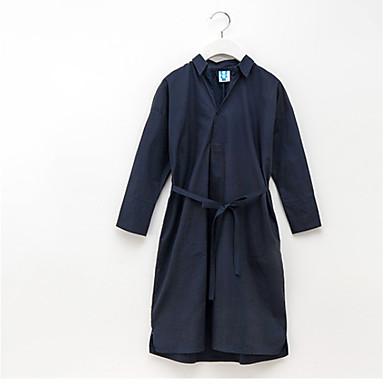 Χαμηλού Κόστους Φορέματα για κορίτσια-Παιδιά Κοριτσίστικα Βασικό Καθημερινά Μονόχρωμο Με Κορδόνια Μακρυμάνικο Ως το Γόνατο Βαμβάκι Πολυεστέρας Φόρεμα Βαθυγάλαζο
