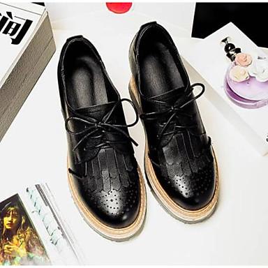 Femme 06849822 Chaussures fermé Cuir Blanc Oxfords Confort Bout Printemps Noir Nappa Creepers 7fOwU7