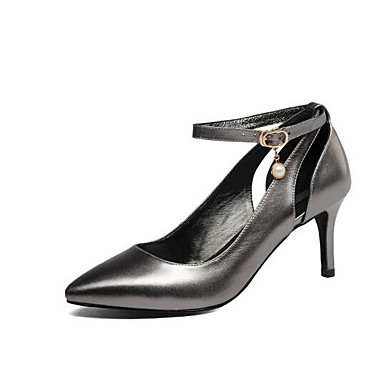 Aiguille Escarpin 06849946 Argent Chaussures Basique Talon Chaussures Talons Noir Femme Nappa Rose Cuir Printemps à BvqZIw