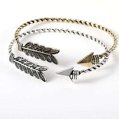 abordables Bracelet-Manchettes Bracelets Femme Le style rétro Arrow Elégant simple Européen Bracelet Bijoux Dorée Noir Argent pour Quotidien