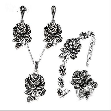povoljno Fini nakit-Žene Kubični Zirconia Vintage ogrlica Vintage Style Cvijet dame Vintage Titanium Steel S925 Sterling Silver Naušnice Jewelry Sive boje Za Vjenčanje Dnevno Večer stranka Maškare Zaručnička zabava Prom