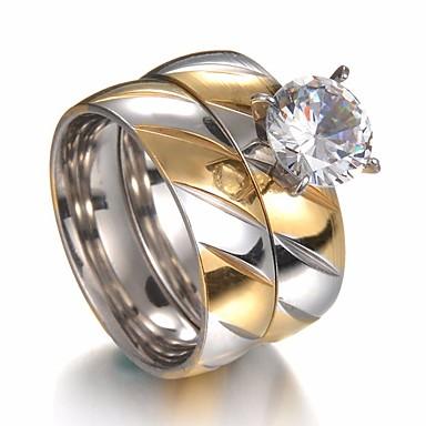 baratos Anéis-Casal Zircônia Cubica Fashion Dois Tons Solitário Anéis de Casal Anel de noivado Strass Aço Titânio Aço Inoxidável Criativo senhoras Estiloso Simples Clássico Anéis Jóias Dourado Para Casamento