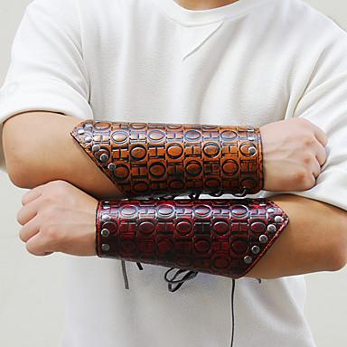 voordelige Herensieraden-Heren Lederen armbanden Wide Bangle Gevlochten Letter Punk Rock Leder Armband sieraden Bruin / Donker rood Voor Straat Bar