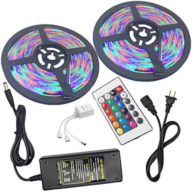 abordables Bandes Lumineuses LED-HKV 2x5M Ensemble de Luminaires / Barrette d'Eclairage RVB 300 LED 3528 SMD 1 24Keys Télécommande / Adaptateur d'alimentation 1 X 5A RVB Imperméable / Découpable / Connectible 100-240 V 2pcs