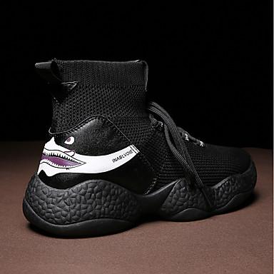 Homme Fashion Boots Tissu Tissu Tissu élastique Automne hiver Classique / Preppy Bottes Respirable Bottes Mi-mollet Blanc / Noir / Kaki b40342