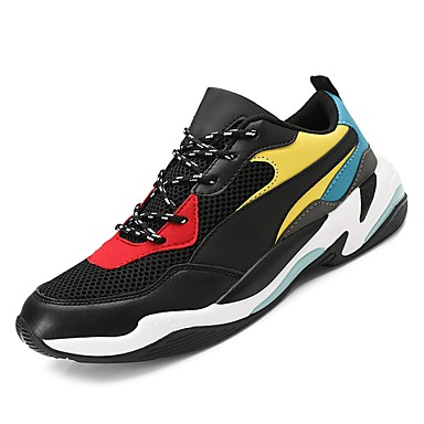Men's Comfort Shoes PU(Polyurethane) Fall Athletic Shoes Walking / Shoes Color Block Black / Walking Black / Red / Orange / Black 9ce721