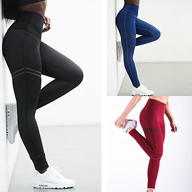 Femme Maintient les Fesses Pantalon de yoga Noir Rouge Bleu Des sports Rayure Coton Taille Haute Pantalons / Surpantalons Bas Zumba Exercice & Fitness Course / Running Tenues de Sport Séchage rapide
