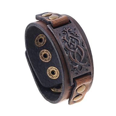 voordelige Herensieraden-Heren Vintage Armbanden Vintagestijl Vintage Europees Titanium Staal Armband sieraden Bruin Voor Straat
