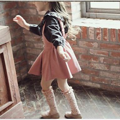 baratos Conjuntos para Meninas-Infantil Para Meninas Básico Diário Sólido Estampa Colorida Patchwork Manga Longa Padrão Padrão Algodão Conjunto Preto