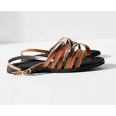 رخيصةأون صنادل نسائية-نسائي صنادل أحذية الراحة كعب مسطخ Leather نابا الصيف أسود / بني فاتح