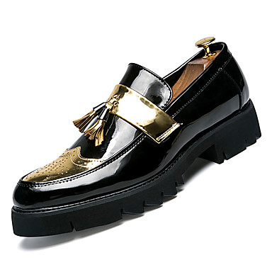 cheap Men's Silver Loafers-Men's Comfort Shoes PU(Polyurethane) Fall Business Loafers & Slip-Ons Gold / Black / Silver