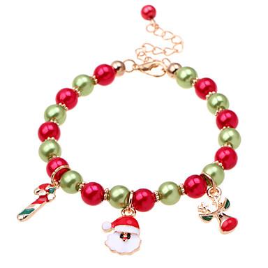 billige Motearmbånd-Dame Perlearmbånd Armbånd med anheng Perler Nisse drakter Rådyr damer Klassisk Mote Imitert Perle Armbånd Smykker Rød Til Jul Gave