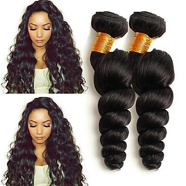 voordelige Weaves van echt haar-4 bundels Mongools haar Los golvend 8A Echt haar Menselijk haar weeft Verlenging Bundle Hair 8-28 inch(es) Natuurlijke Kleur Menselijk haar weeft Dames uitbreiding Beste kwaliteit Extensions van echt