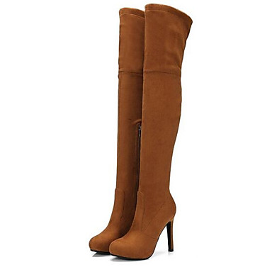 Women's Fashion Stiletto Boots Suede Fall Boots Stiletto Fashion Heel Over The Knee Boots Dark Grey / Almond / Light Brown ef9054