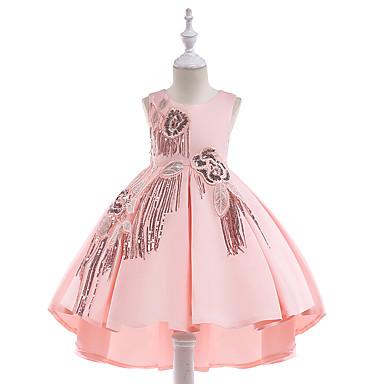baratos Princesa-Infantil Para Meninas Vintage Activo Festa Feriado Sólido Franjas Sem Manga Altura dos Joelhos Vestido Bege