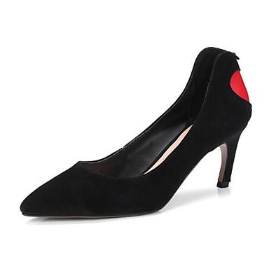 bd847a02b48 Mulheres Sapatos Confortáveis Camurça   Pele de Carneiro Primavera Saltos  Salto Agulha Preto
