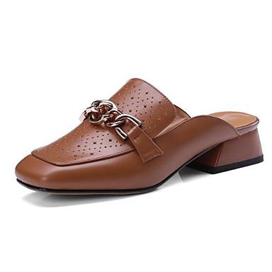 رخيصةأون صنادل نسائية-نسائي صنادل أحذية الراحة كعب منخفض Leather نابا الربيع البيج / بني فاتح