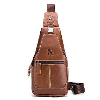 afdde7c455f8 laoshizi férfi táskák tehénbőr hevederes válltáska gombok / dombornyomott  színű fekete / barna