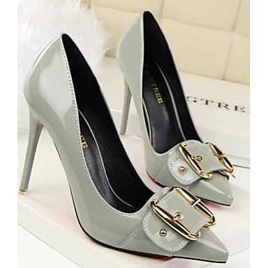 Women's Comfort Shoes Patent Leather Spring Heel Heels Stiletto Heel Spring White / Black / Gray b2a5f6