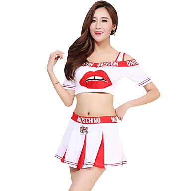 8819cfe58 Cheerleader Costumes Outfits Women's Performance Polyester Pattern / Print  / Split Joint Short Sleeve Dropped Skirts / Top