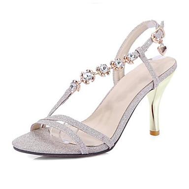 voordelige Damessandalen-Dames Sandalen Comfort schoenen Naaldhak Schapenleer / PU Lente Goud / Zilver / Roze