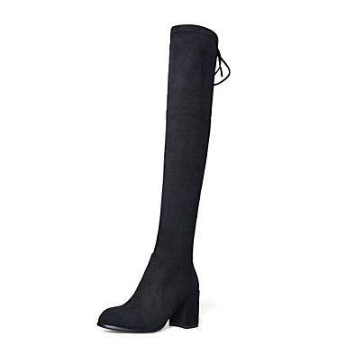 4b22f130b Women s Bootie Suede Fall Boots Chunky Heel Pointed Toe Thigh-high Boots  Ribbon Tie Black   Dark Grey