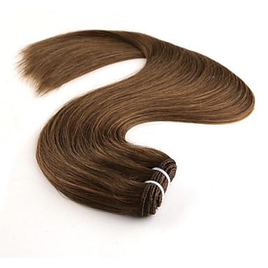 baratos Extensões de Cabelo Natural-1 pacote Cabelo Indiano Liso 8A Cabelo Humano Tecer 20 polegada Marrom Escuro Loiro Tramas de cabelo humano Sem Cheiros Feminino extensão Extensões de cabelo humano Mulheres Feminino