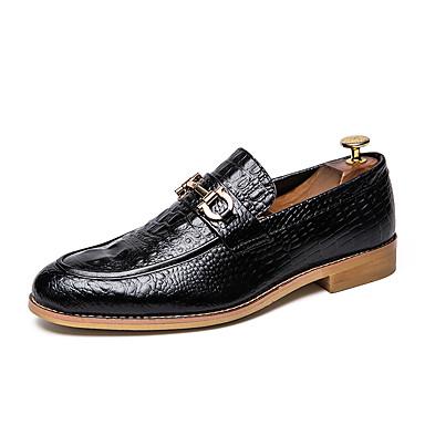בגדי ריקוד גברים נעליים פורמליות PU סתיו / אביב קיץ עסקים / בריטי נעליים ללא שרוכים הליכה נושם שחור / חום / מסיבה וערב
