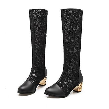 9e57c88e43 Női Fashion Boots Szintetikus Ősz Csizmák Vaskosabb sarok Hosszú szárú  csizmák Fehér / Fekete / Mandula