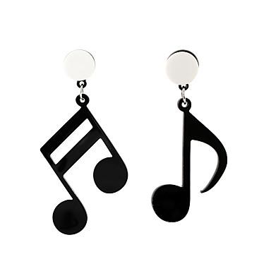 abordables Boucle d'Oreille-Femme Boucle d'Oreille Pendantes Incompatibilité Musique Note de Musique dames Artistique Coréen Mode Des boucles d'oreilles Bijoux Noir Pour Casual 1 paire