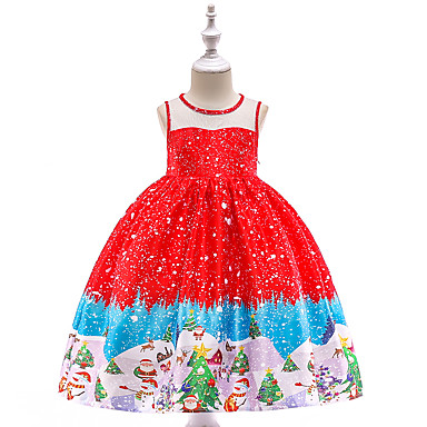 cheap Gilrs' Party Dresses-Kids / Toddler Girls' Vintage / Active Christmas / Party / Holiday Snowflake Sleeveless Knee-length Dress Red