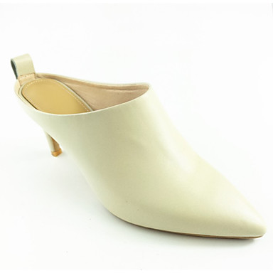 a65563ff7386 Women s Comfort Shoes Nappa Leather Summer Casual Clogs   Mules Stiletto  Heel Black   Beige