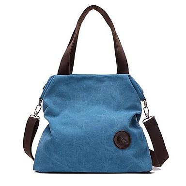 ieftine Genți-Pentru femei Fermoar pânză Umăr Bag Geantă de Canava Culoare solidă Gri / Cafea / Albastru celest