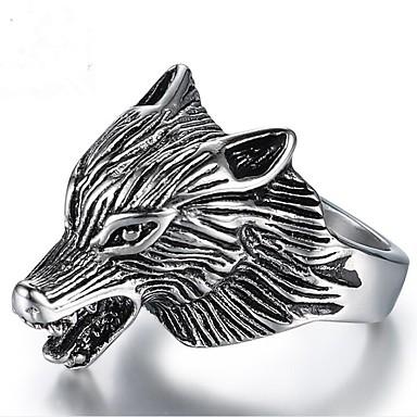 voordelige Herensieraden-Heren Midi Ring 1pc Zilver Titanium Staal Geometrische vorm Vintage Dagelijks Verjaardag Sieraden Vintagestijl Wolf Cool