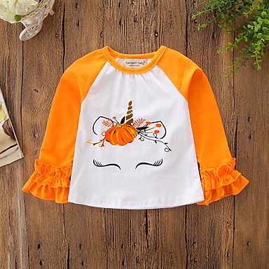billige Halloweensalg-Baby Jente Aktiv / Grunnleggende Fest / Ferie Trykt mønster Langermet Normal T-skjorte Oransje