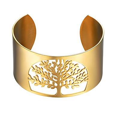 baratos Bangle-Mulheres Bracelete Árvore da Vida Árvore da vida senhoras Fashion Aço Inoxidável Pulseira de jóias Dourado / Preto / Prata Para Presente Diário