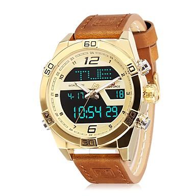 6303389ef60 baratos Relógio Esportivo-NAVIFORCE Homens Relógio Esportivo Relógio de  Pulso Japanês Quartzo Japonês Couro Legitimo