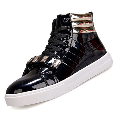 Men's Comfort Shoes Faux Leather / PU(Polyurethane) Fall Sneakers Non-slipping Black Color Block White / Black Non-slipping / Red b1a446