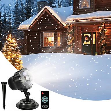 billige Utendørsbelysning-snøfall projektor ledet julelys vanntett roterende mini projeksjon snøfnugg lampe med trådløs fjernkontroll for halloween fest bryllup og hage dekorasjoner