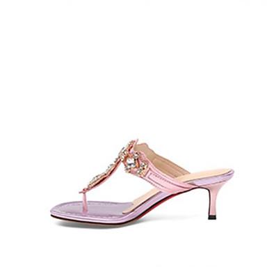 voordelige Damespantoffels & slippers-Dames Comfort schoenen Leer Zomer Slippers & Flip-Flops Platte hak Zilver / Roze