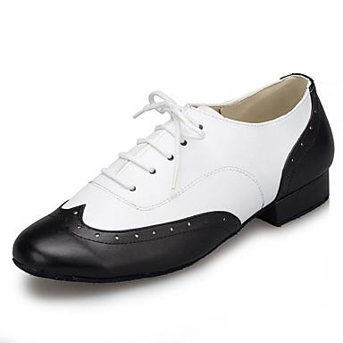 baratos Shall We® Sapatos de Dança-Homens Sapatos de Dança Couro Envernizado Sapatos de Dança Moderna Recortes Têni Salto Grosso Preto-branco