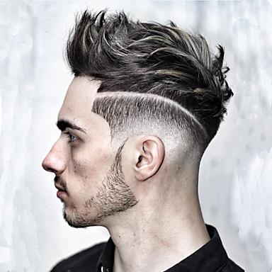 povoljno Perike i ekstenzije-Muškarci Ljudska kosa Tupe Ravan kroj 100% rađeno rukom / Lace Front Nježno