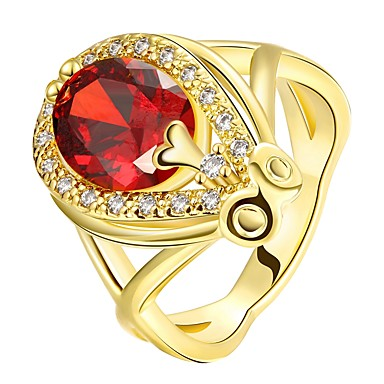 voordelige Dames Sieraden-Dames Ring Robijn 1pc Goud Goud Rose 18K Goud Druppels Dames Modieus Feest Dagelijks Sieraden Klassiek Drop Schattig