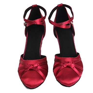 Femme Chaussures Modernes Satin Talon Noeud / Boucle Talon Talon Talon Cubain Personnalisables Chaussures de danse Fuchsia 672fc4