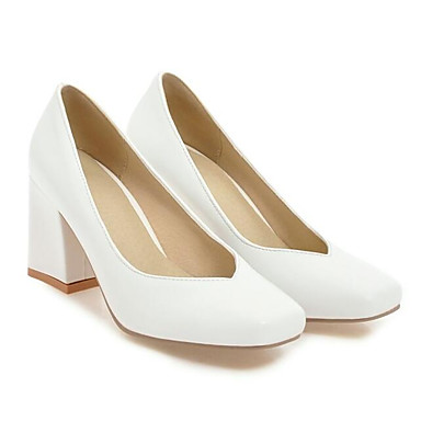 Mujer Zapatos Confort PU Primavera Tacones Tacón Cuadrado Blanco   Negro 6be1f1cfcb9f8
