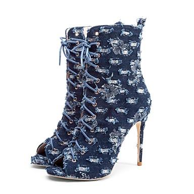 povoljno Ženske čizme-Žene Cowboy / Western Boots Traper Proljeće ljeto Vintage Čizme Stiletto potpetica Otvoreno toe Čizme do pola lista Plava