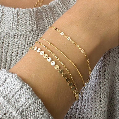 billige Motearmbånd-4stk Dame ID armbånd Link / Kjede Dainty damer trendy Elegant delikat Legering Armbånd Smykker Gull Til Daglig Arbeid