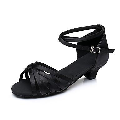 baratos Shall We® Sapatos de Dança-Mulheres Sapatos de Dança Cetim Sapatos de Dança Latina Salto Salto Grosso Personalizável Preto / Leopardo / Vermelho / Couro
