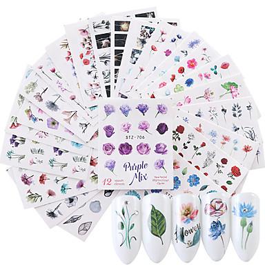 24 pcs Water overdracht sticker Bloemen Series / Bloem Nagel kunst Manicure pedicure Nieuw Design / Beste kwaliteit / Hoge kwaliteit, vrij van formaldehyde Schattig / Zoet Kerstmis / Feest / Uitgaan